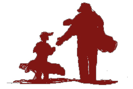 Shadow image adult and child golfer